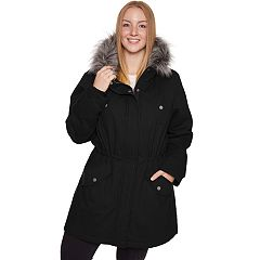 Plus Size Halitech Faux-Fur Hooded Anorak Cotton Parka