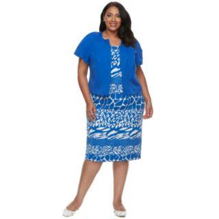 Plus Size Maya Brooke Print Dress & Jacket Set