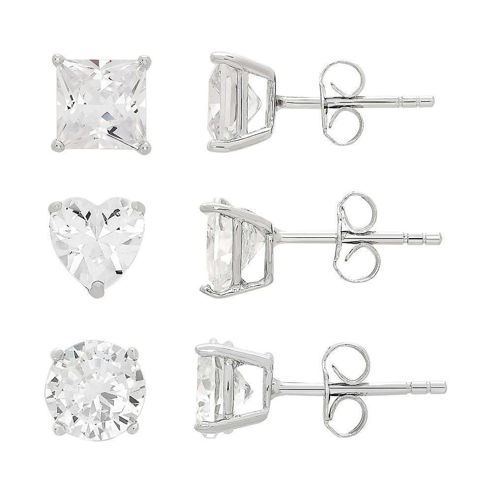 DiamonLuxe Sterling Silver Simulated Diamond Stud Earring Set