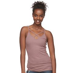 Juniors' Mudd® Ribbed Cross Front Tank