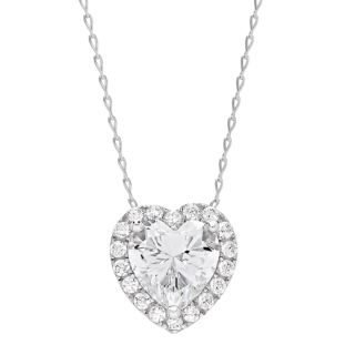 DiamonLuxe Sterling Silver Simulated Diamond Heart Halo Pendant Necklace
