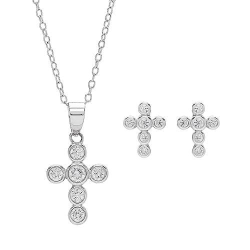 DiamonLuxe Sterling Silver Simulated Diamond Cross Jewelry Set