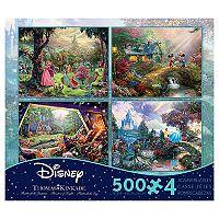 Disney's 4 in 1 500-Piece Thomas Kinkade Disney Dreams Multi-Puzzle Pack by Ceaco