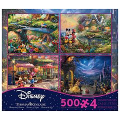 Disney's 4 in 1 500-Piece Thomas Kinkade Disney Dreams Multi-Puzzle Pack by Ceaco