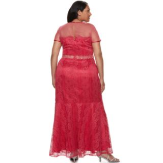 Plus Size Maya Brooke Embroidery Sequin Lace Dress