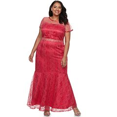 Plus Size Maya Brooke Embroidery Sequin Lace Dress