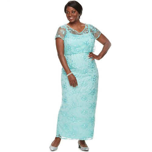 Plus Size Brianna Embroidered Sequin Dress