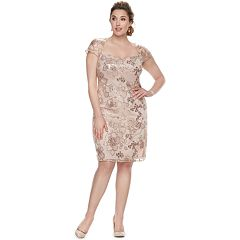 Plus Size Maya Brooke Floral Embroidered Sequin Dress