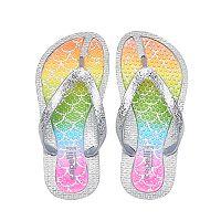 Girls 4-16 Rainbow Mermaid Glitter Thong Flip Flop Sandals