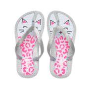 Girls 4-16 Kitty Cat Glitter Thong Flip Flop Sandals