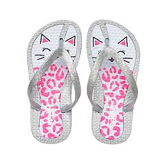 Girls 4-16 Kitty Cat Glitter Thong Flip Flop Sandals