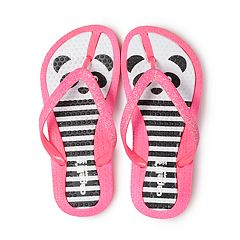 Girls 4-16 Panda Bear Glitter Thong Flip Flop Sandals