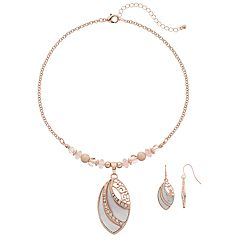 Bead & Marquise Pendant Necklace & Drop Earring Set