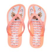 Girls 4-16 Fox Glitter Thong Flip Flop Sandals