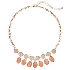 Peach Oval & Circle Link Necklace