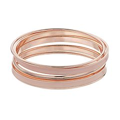 Rose Gold Tone Bangle Bracelet Set