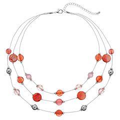 Peach Bead Multi Strand Illusion Necklace