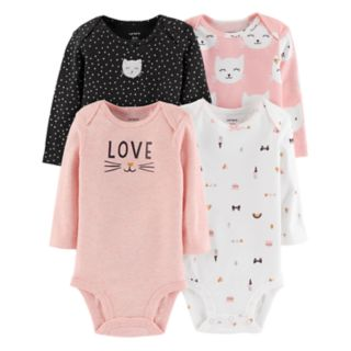 Baby Girl Carter's 4-pack Cat Graphic Bodysuits