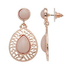 Rose Gold Tone Peach Cabochon Teardrop Earrings