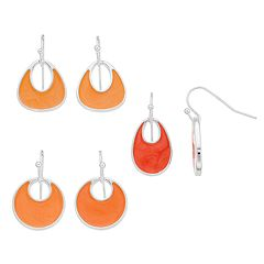Silver Tone Peach Drop Earring Set