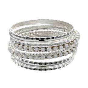 Silver Tone Bangle Bracelet Set