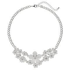 White Flower Bib Necklace