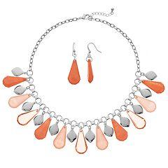 Teardrop Bead Bib Necklace & Drop Earring Set