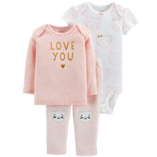 Baby Girl Carter's 3-piece. Cats Bodysuit, Tee & Pants Set