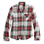 Girls 7-16 & Plus Size SO® Plaid Button-Down Shirt