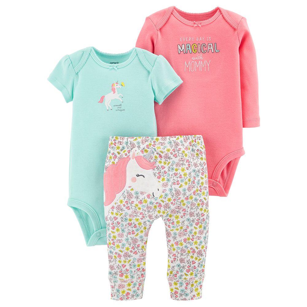 30cbf8a11 Baby Girl Carter's 3-piece. Unicorn Bodysuit & Pants Set