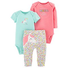Baby Girl Carter's 3-piece. Unicorn Bodysuit & Pants Set