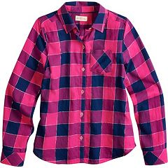 18058c06458 Girls 7-16   Plus Size SO® Plaid Button-Down Shirt. Buffalo Red Buffalo  Black
