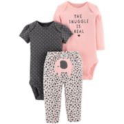 Baby Girl Carter's 3-piece. Elephant Bodysuit & Pants Set