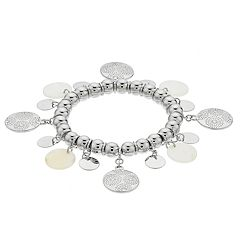 Bead & Disc Charm Stretch Bracelet