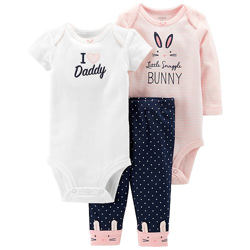 Baby Girl Carter's 3-piece. Bunny Bodysuit & Pants Set