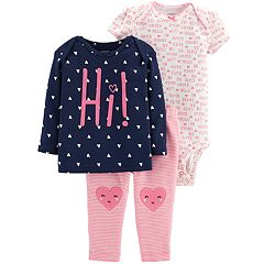 Baby Girl Carter's 3-piece. Hearts Bodysuit, Tee & Pants Set