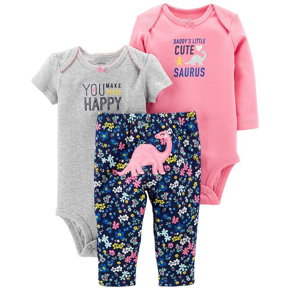 6249f39b5eea3 Baby Girl Carter's 3-piece. Dinosaur Bodysuit & Pants Set