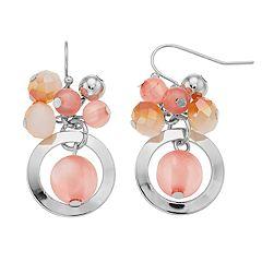Peach Bead Cluster Drop Earrings