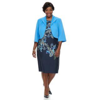 Plus Size Maya Brooke Paisley Dress & Jacket Set