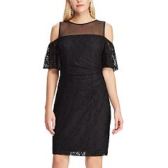 Women's Chaps Cold-Shoulder Lace Sheath Dress