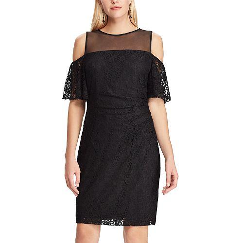 Women's Chaps Cold-Shoulder Lace Sheath Dress