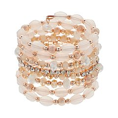 Simulated Crystal & Bead Coil Bracelet