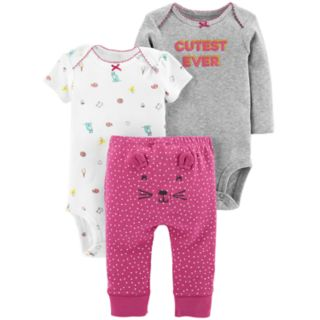 "Baby Girl Carter's 3-piece. ""Cutest Ever"" Bodysuit & Pants Set"