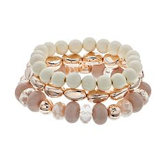 Pink Bead Stretch Bracelet Set