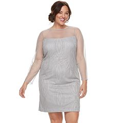 Plus Size Maya Brooke Beaded Sheer Dress