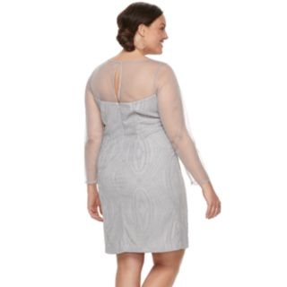 Plus Size Maya Brooke Beaded Sheer Dress