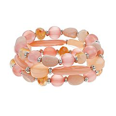 Peach Bead Stretch Bracelet Set