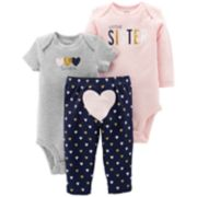 "Baby Girl Carter's 3-piece.""Little Sister"" Bodysuit & Pants Set"