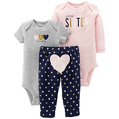 Baby Girl Carter's 3-piece.'Little Sister' Bodysuit & Pants Set