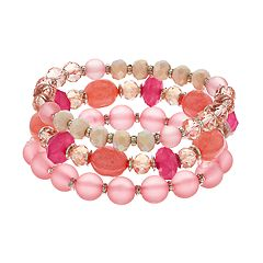 Pink Bead Stretch Bracelet Set